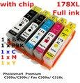 5 tinta hp178XL 178 XL cartucho de tinta compatible para HP Photosmart Premium C309a / C309c / Fax C309a / C310c impresoras de tinta lleno
