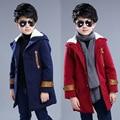 Muchachos del Invierno Niños Niño Coreano Con Capucha de Un Solo Pecho Abrigo de Lana Espesada Niños Ropa de Color Rojo Oscuro Azul de Algodón