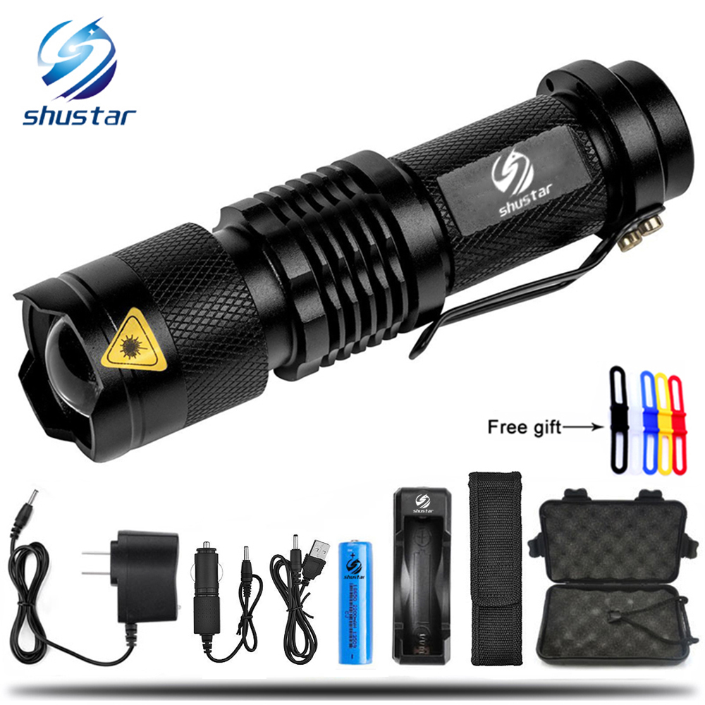Mini Zoom cree XML-T6/L2 Flashlight Led Torch 5 mode 8000 Lumens waterproof 18650 Rechargeable battery give free gift