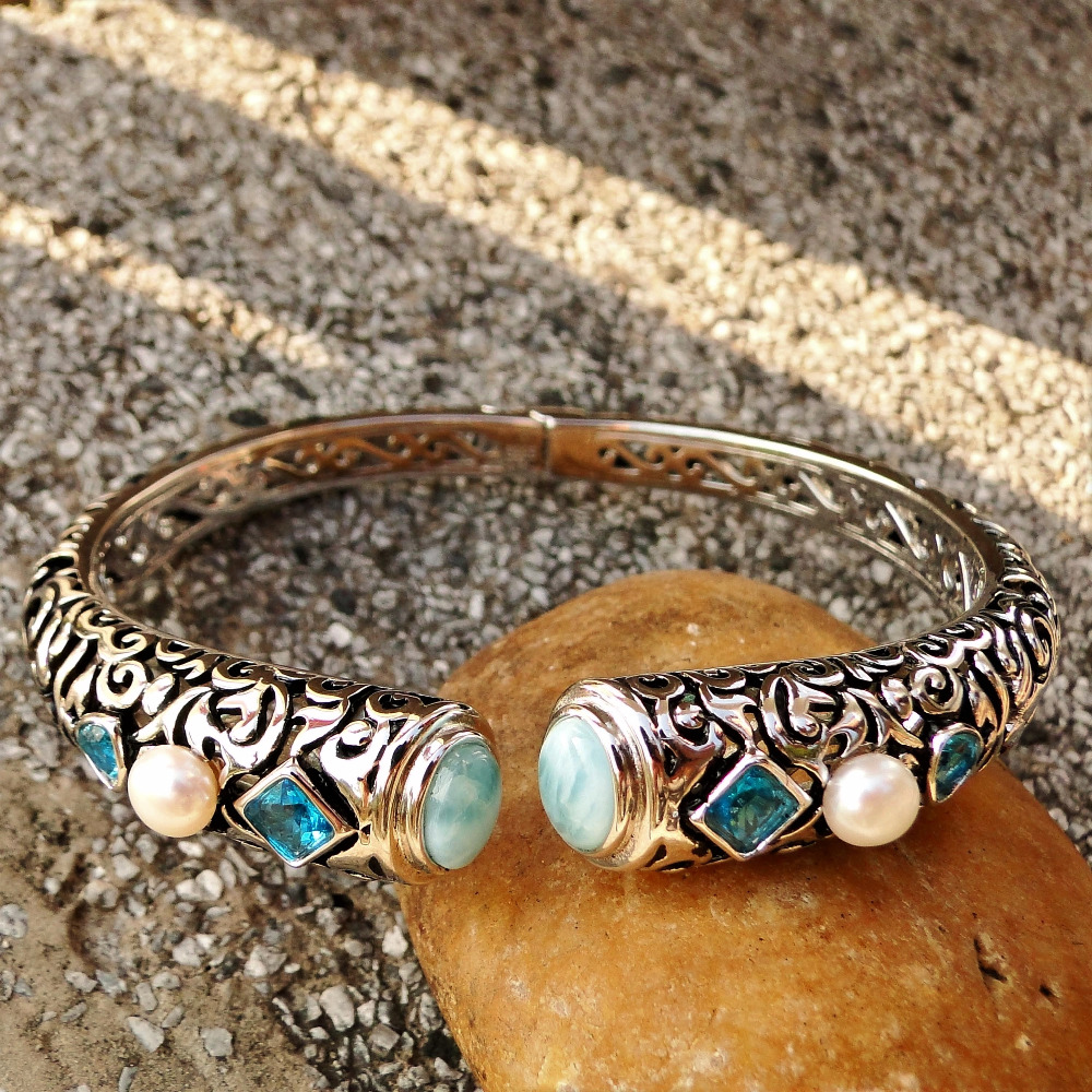 DJ CH Fine Woman Jewelry Ethnic Bohemian Bangle Natural Larimar Blue Gemstone Bracelet Bangle in 925 Sterling Silver for Lady
