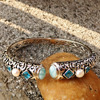 DJ CH Fine Woman Jewelry Ethnic Bohemian Bangle Natural Larimar Blue Gemstone Bracelet Bangle In 925