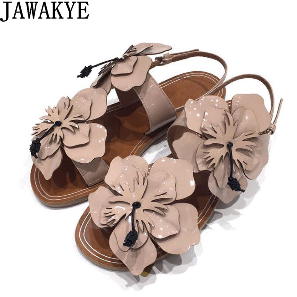 Summer flat heel sandals women big flowers embellished ankle strap sweet beach shoes for ladies patent leather casual slides 2016 summer patent leather buckle slides for women fashion stone upper flat platform ladies casual beach slippers sandals shoes