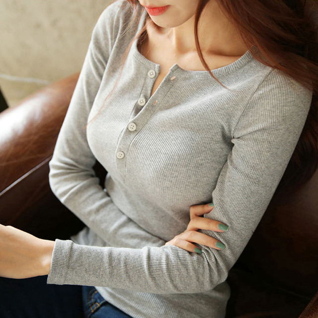 f53f324fa5f Women Thread Knitting T Shirt Tops 2018 Sexy V Neck Long Sleeve Top Tees  Casual Button