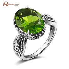 Bulgaria Jewelry Vintage Charm Olivine Created Peridot Ring For Women 925 Sterling Silver Friendship August Birthstone Rings
