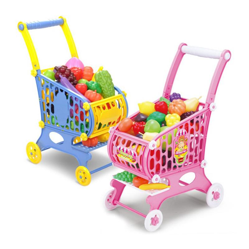 Cute Kids Shopping Cart Toy Baby Stroller Pretend Toy Children Simulation Supermarket Assemble Trolley with Fruit Vegetable