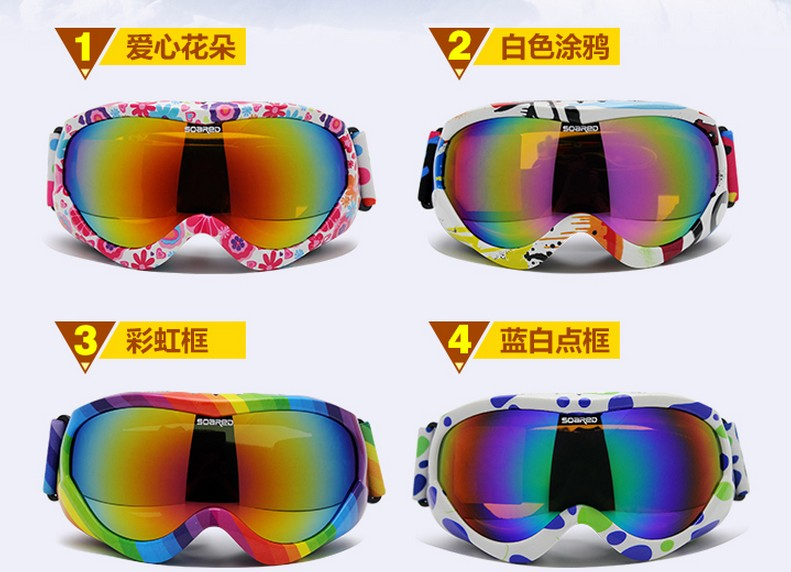 8-15 years old children ski eyewear teenager double layer spherical ski goggles outdoor snow glasses present box and bag 6colors