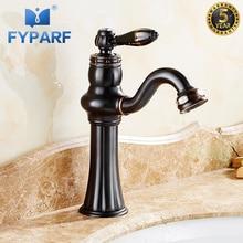 FYPARF Bathroom Sink Faucet Single Handle Water Tap Bathroom Basin Mixer Deck Mounted Oil Rubbed Bronze Vessel Sink Mixer Crane стоимость