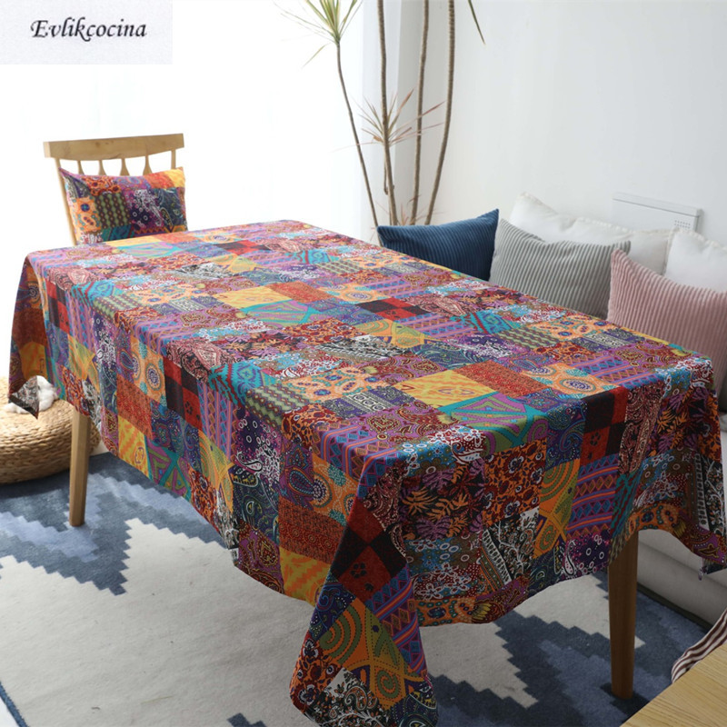 Free Shipping Retro Ethnic Tablecloth Home/Hotel/Diner Table Cover Mantel De Mesa Multifunction Printed Flax Covered Cloth Nappe