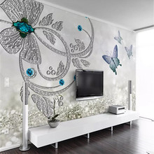 3D Crystal Flower Butterfly Jewelry TV Background Wall Paper Mural Home Decoration Custom Photo Wallpaper