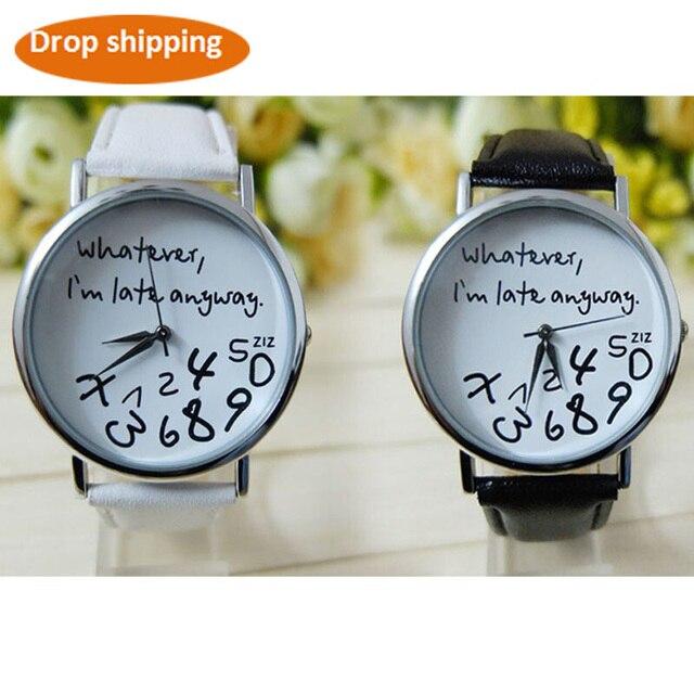 Watches women fashion quartz wristwatches Leather Watch Letter Whatever I am Lat