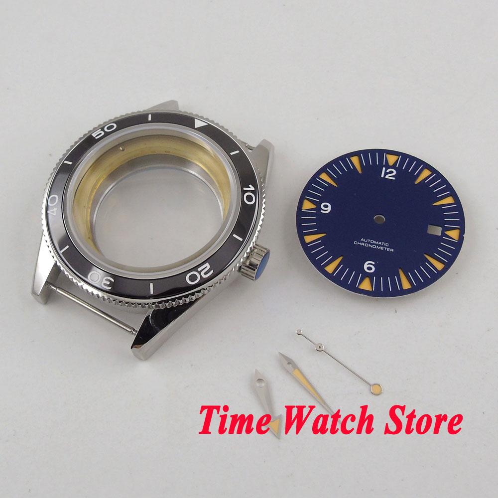 цена на Fit ETA 2836 MIYOTA 8215 821A movement 41mm black ceramic bezel sapphire glass 316L SS watch case +blue dial+hands C11