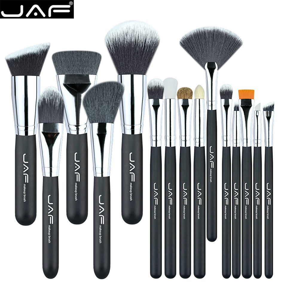 JAF Brand 15 pcs/set Makeup Brushes 15 pcs make up brush set high quality make-up brush kit free shipping J1502SSY-B high quality 7 makeup brush set kit in sleek berry red leather bag make up portable brushes free shipping