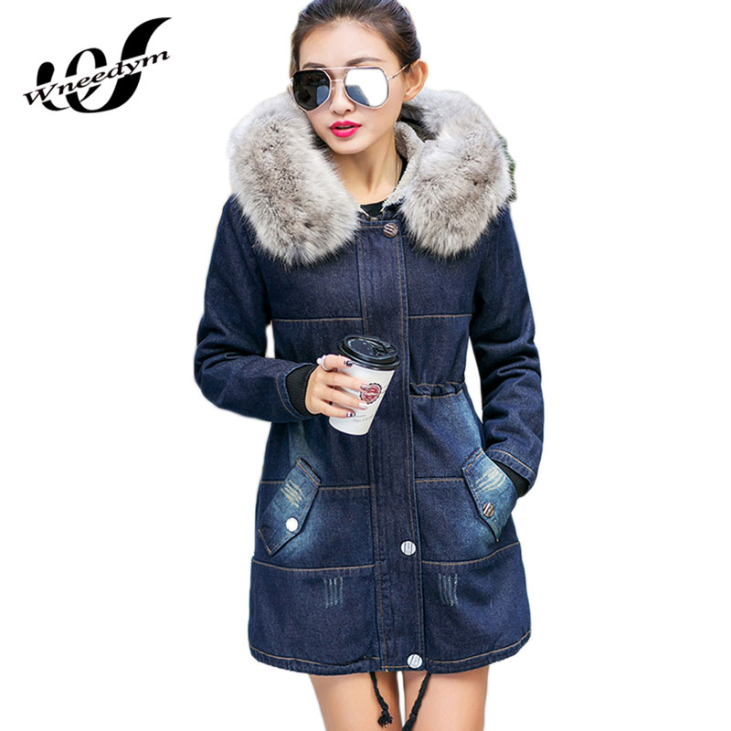 WNEEDYM 2017 New Vintage Women Winter Denim Jackets Slim Jeans Coat Cashmere Fur Collar Hooded Thicker Plus Size Outwear QFS05