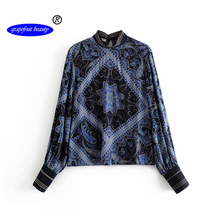 Grapefruit beauty 2019 Blouse Floral Print LONG Sleeve Shirt Sexy Lace-up Tassel O Neck Women Tops AUTUMN Summer Blouses v neck floral print lace up front blouse