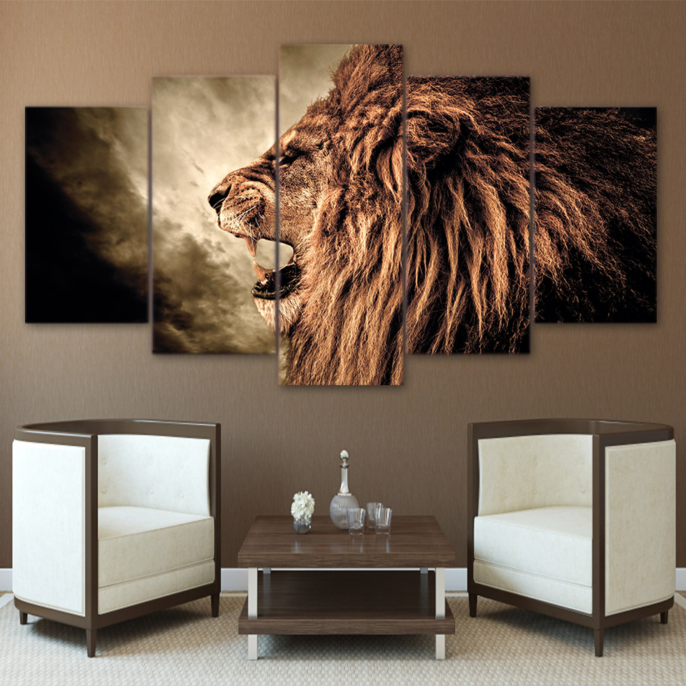 HD Prints Poster Framework For Living Room Wall Art 5 Pieces Howling Lion  Canvas Paintings Modular Abstract Pictures Home Decor