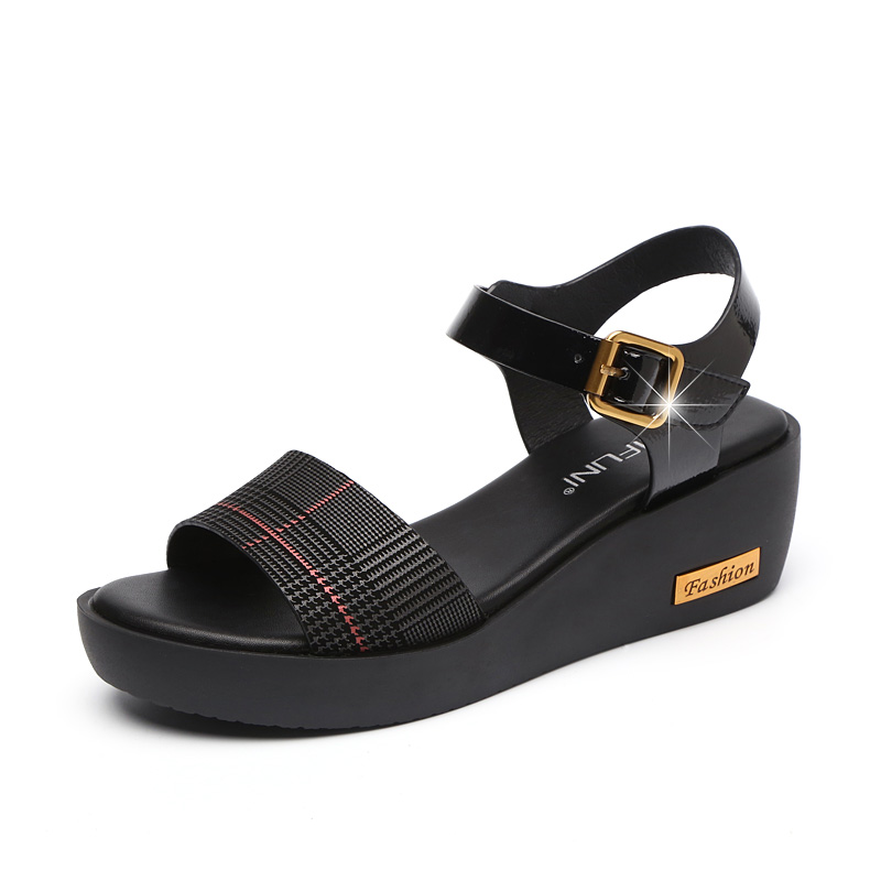 Sandals Female Summer Flat 2019 New Wild With High Heel Wedges Comfortable Non-slip Soft Bottom Pregnant Women Mother Shoes 51
