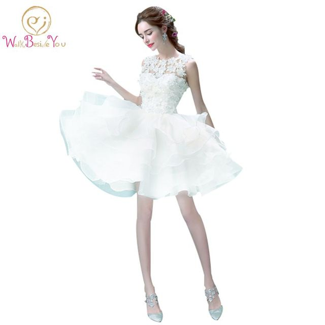 Cheap Prom Dresses Short Sexy Birthday Dresses Girls Cocktail Beige Floral Organza Ball Gown Sleeveless Formal Party Dresses In Prom Dresses From