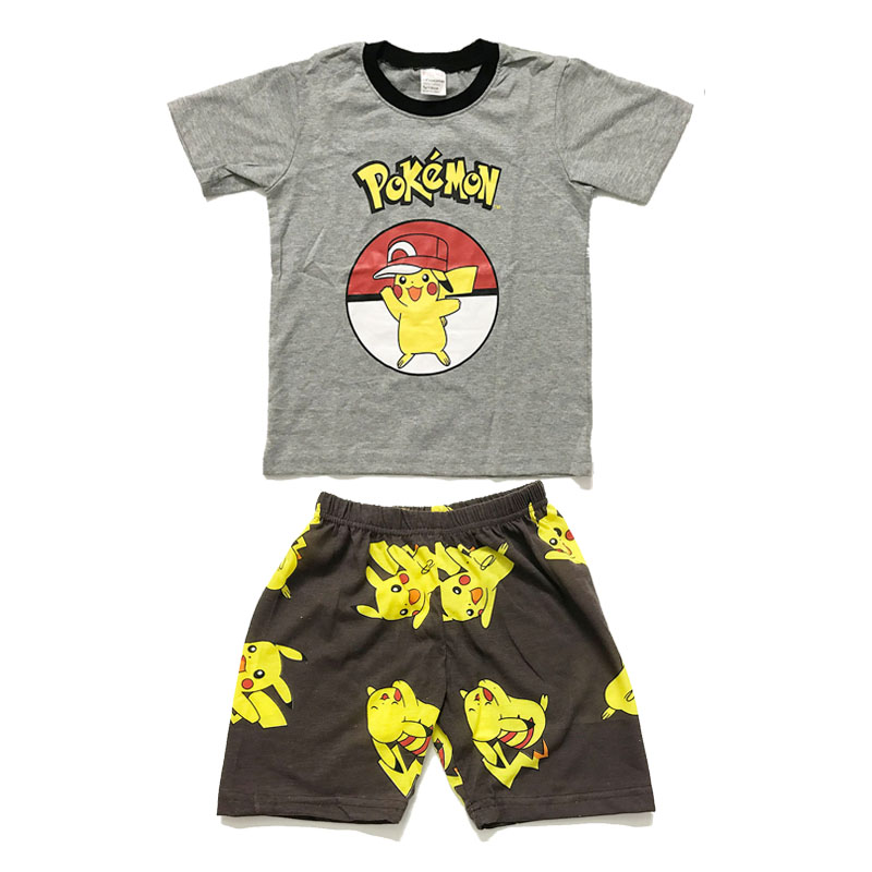 Summer Pokemon Pikachu Cotton Cartoon Pikachu Sest Kids Boy Costume 2pcs Set T-shirt+Shorts Cosplay Clothing Pajamas Nightwear