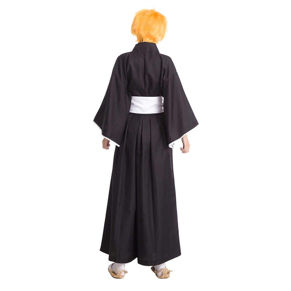 Brdwn Unisex Bleach Ichigo Kurosaki Rukia Byakuya Hitsugaya Die Pa Cosplay Kostuum Kimono (Top + Broek + Riem)