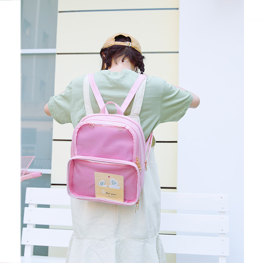 Cute Clear Transparent Women Backpacks Pvc Jelly Color Student Schoolbags Fashion Ita Teenage Girls Bags For School Backpack New #2