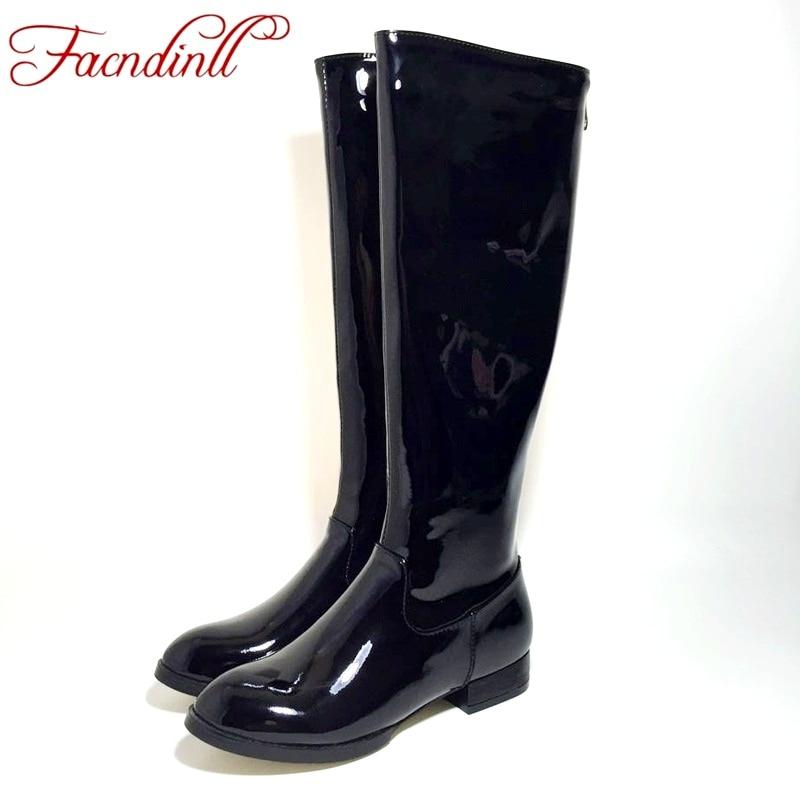 35a7404a72769 Botas altas hasta la rodilla de alta calidad para mujer de charol botas  negras cómodas botas