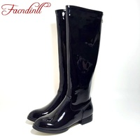 FACNDINLL New High Quality Knee High Boots Patent Leather Women Leather Boots Comfortable Lady Army Long