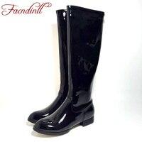 FACNDINLL haute qualité femmes genou haute bottes en cuir verni femmes noir bottes confortable lady armée longues bottes hiver bottes chaudes