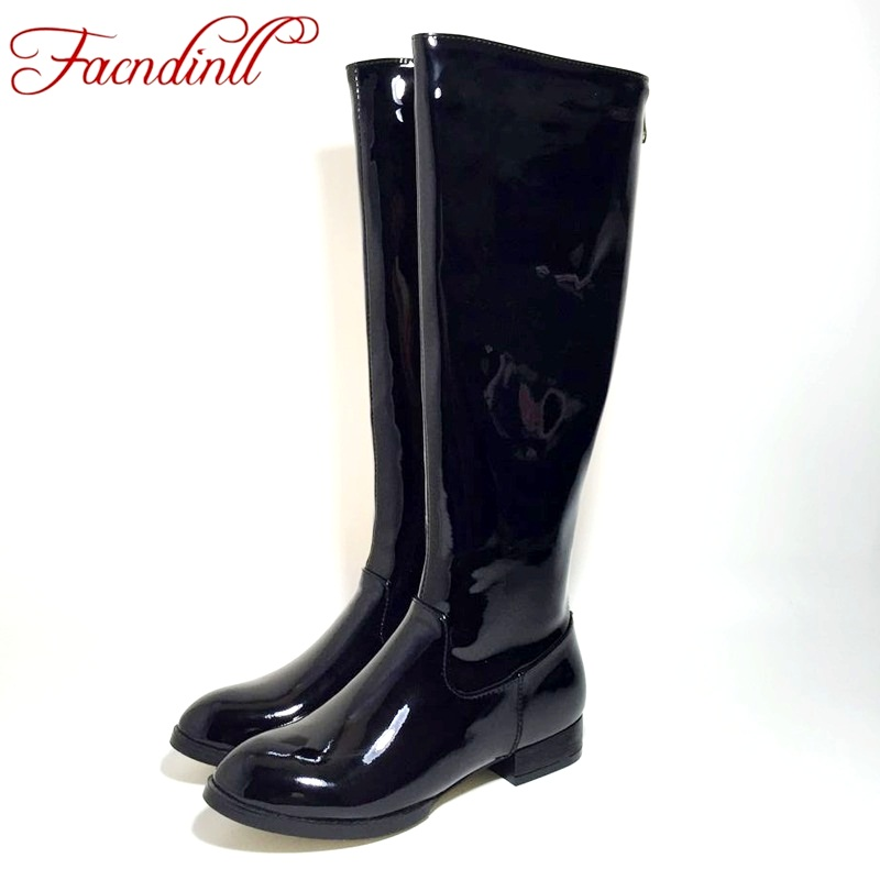 FACNDINLL high quality women knee high boots patent leather women black boots comfortable lady army long boots winter warm boots