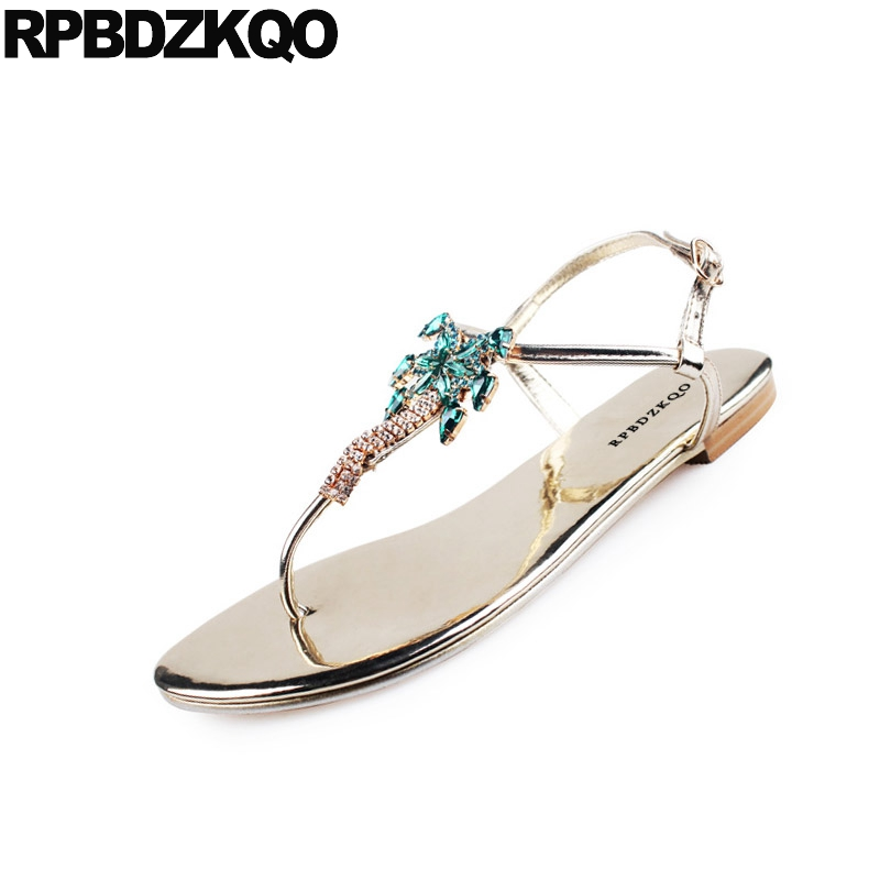 847d10dd546188 Rhinestone Embellished Jewel Shoes Sandals Leisure Fashion Bohemia Style  Thong Silver Women T Strap Diamond Flat Crystal Gold-in Women s Sandals  from Shoes ...