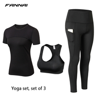 3 pcs set yoga clothing suit T shirt+bras+pants running sports quick dry breathable running fitness sportswear for women