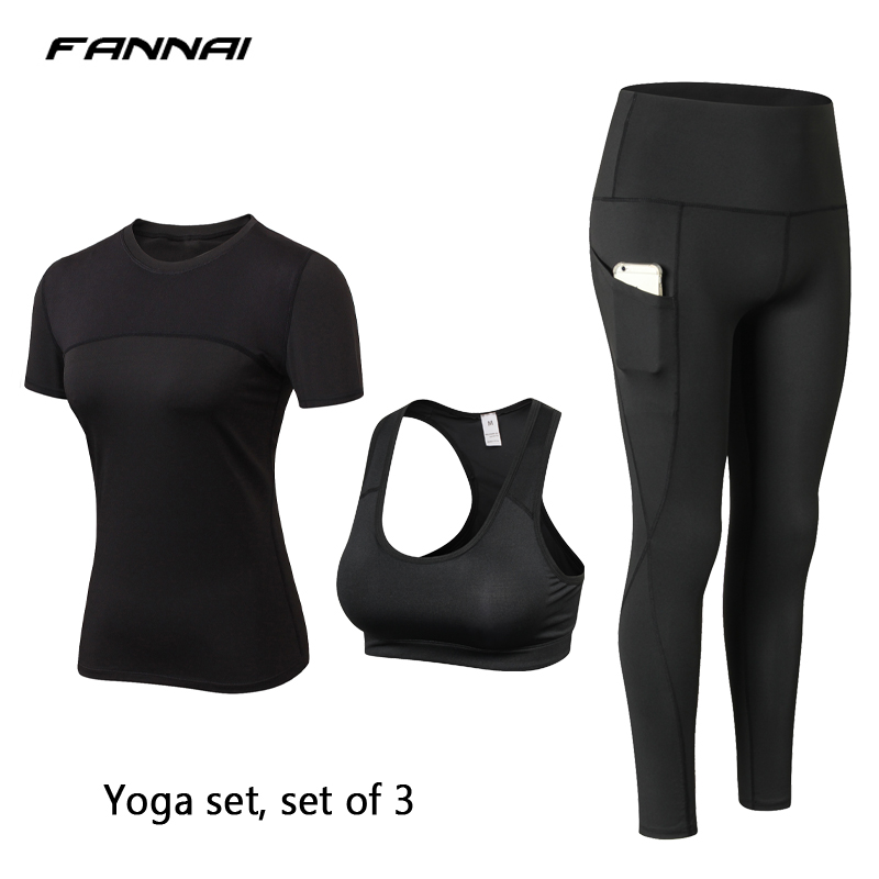 3 pcs set yoga clothing suit T-shirt+bras+pants running sports quick-dry breathable running fitness sportswear for women