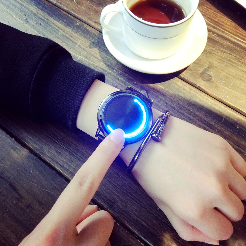 Creative Personality Minimalist Leather Normal Waterproof Led Watch Men And Women Couple Watch Smart Electronics Casual Watches