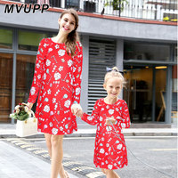 MVUPP Mother Daughter Dresses Mother Kids Christmas Print Dress Family Matching Clothes Novelty Full Sleeve Famili