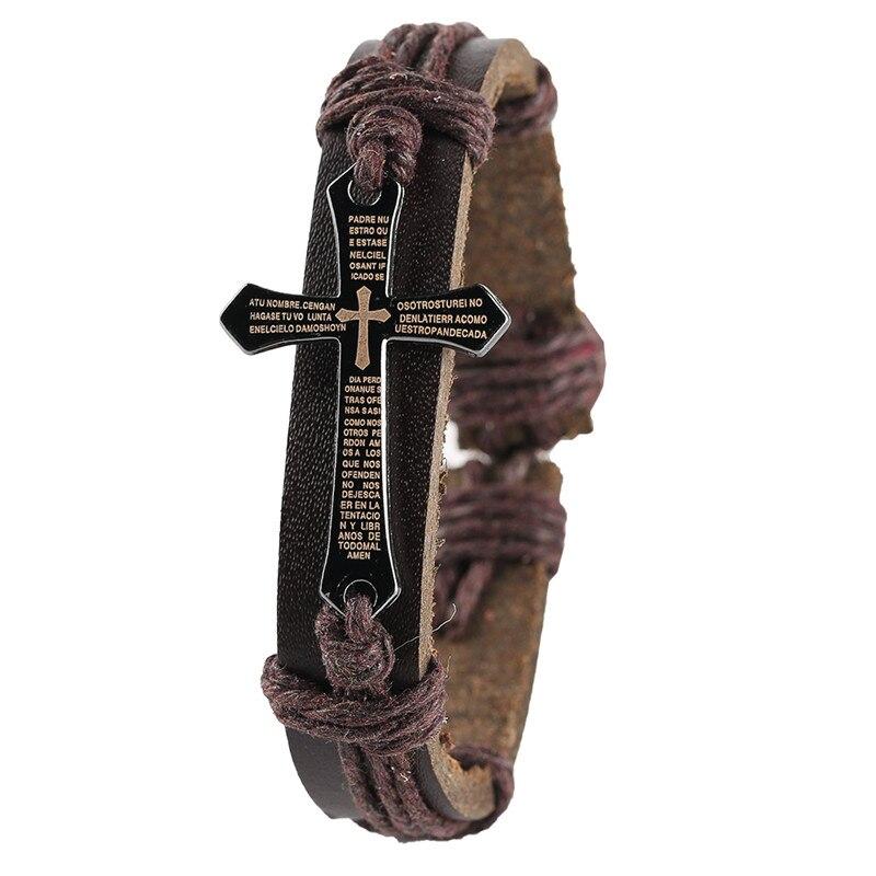 Women Fashion Vintage Bracelets Brown Color Ladies Wrap Leather Trendy Punk Style Alloy Buckles Handmade Cross Bangle Gift