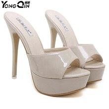 YONGQIN New Women Shoes 2017 Summer Sandals High Heels Platform Sexy Slippers Women Flip-flops Shoes