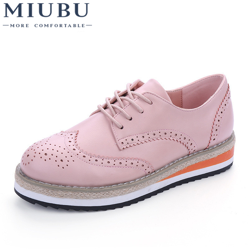 MIUBUCandy Colors Brogue Shoes Woman Platform Women Oxfords British Style Creepers Cut-Outs Flats Casual 7