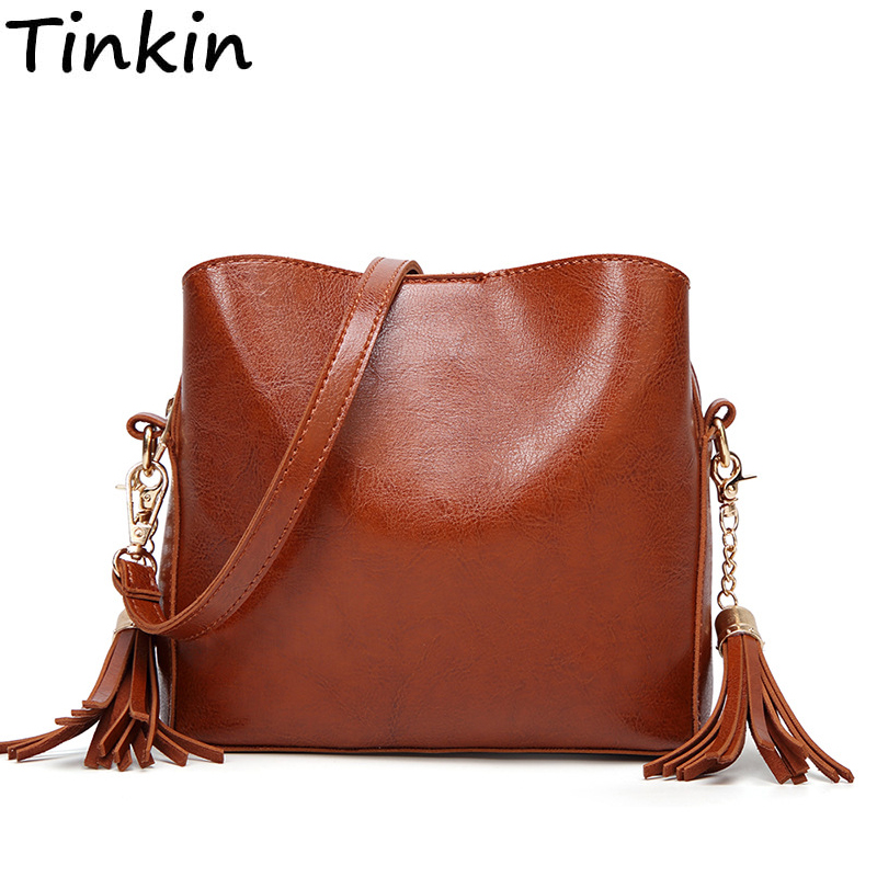 New Arrival Fashion Women Single Shoulder Bag Vintage Lady Crossbody Bag Tassel Famale Messenger Bag Small Waxing Leather Bag new brand genuine leather women bag fashion retro stitching serpentine quality women shoulder messenger cowhide tassel small bag