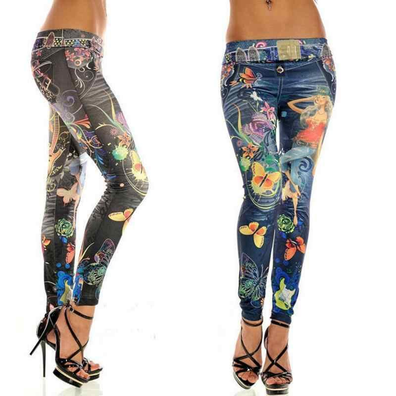Elastik ayak bileği uzunlukta ince Punk tarzı sahte Denim kalem pantolon seksi kadın tayt kelebek çiçek baskılı taklit kot