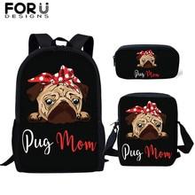 FORUDESIGNS Kids Black Backpack 3Pcs/Set Cartoon Cute Pug Dogs Animal Prints School Bags for Teen Girls Bagpack Canvas Backpacks