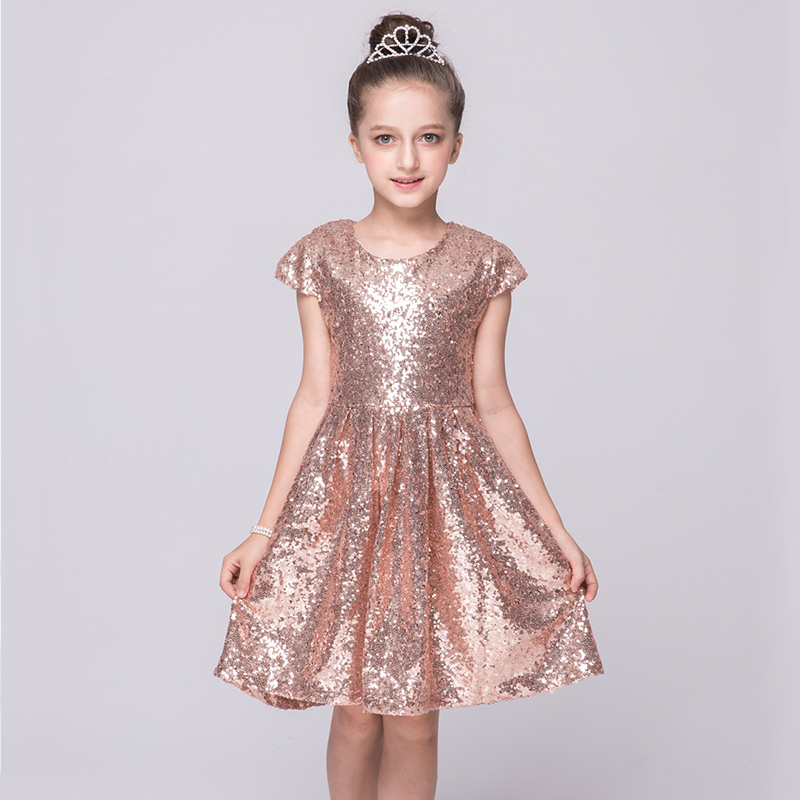 Kid Sequin princess   dress   children clothing girl short sleeve bling party   cocktail     dress   a-line kids european style costume YY74