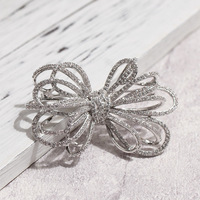 Top Quality Cubic Zirconia CZ Zircon Bow Brooches in Silver Color or Gold Color for Wedding or Party