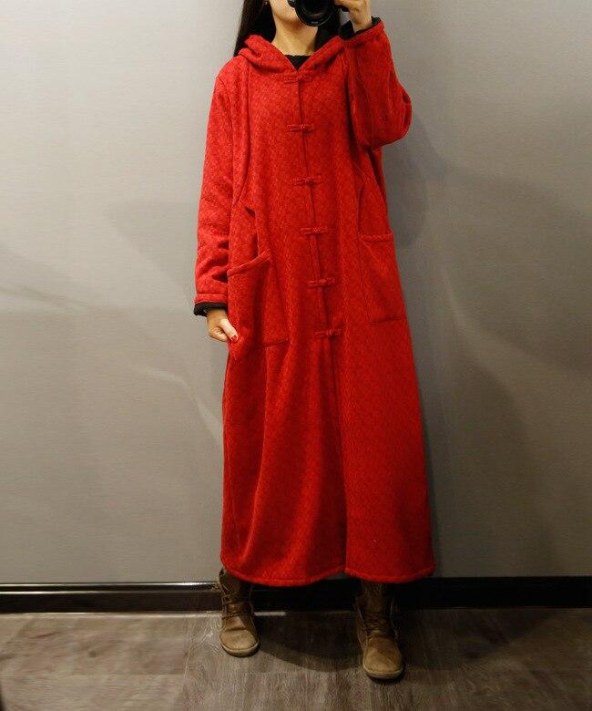 Robe Et En Longue Lâche Coton Robes rouge Chaud Automne Capuchon D'hiver Au Coupe À N326 Lin Manteau vent Rétro Sorcière Velours Long 2018 Bleu Garder FqYtAwx
