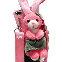 Cartoon Doll Toy Rabbit Phone Case, 3d Cute Stripes Plush Strap Soft Cover with Bracket Stand for 7 8 Case