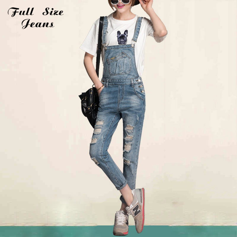 ФОТО Spring Summer Plus Size Denim Jumpsuit Women Rompers Capris Jeans For Teenagers 4Xl 7Xl Oversized Ripped Denim Overalls Bodysuit