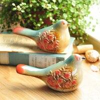 Set Of 2 Ceramic Flower Embellished Multi Colored Bird Figurines Animal Figure For Home Table Decor