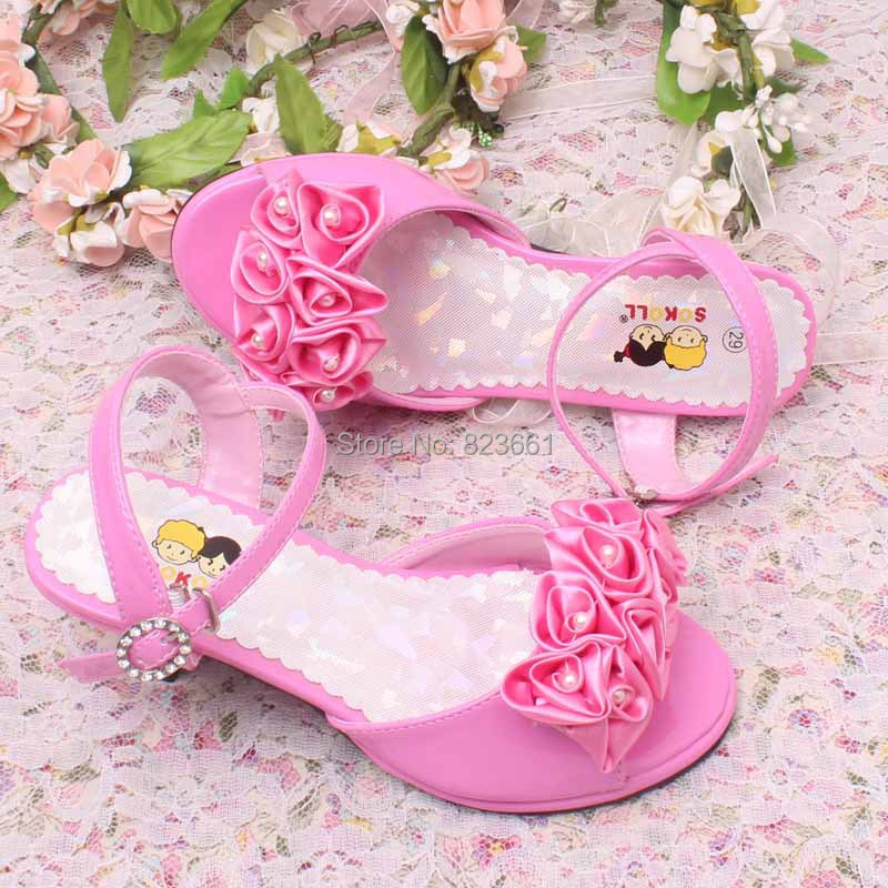 Hottest flowers pinkivory wedding shoes girls princess sandals kids hottest flowers pinkivory wedding shoes girls princess sandals kids children summer sandals heeled size 29 36 in sandals from mother kids on mightylinksfo