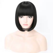 цена на Rosa Star Short Synthetic Bob Wigs With Bangs For Women Straight Black Heat Resistant Cosplay Costume Wig 14 Color