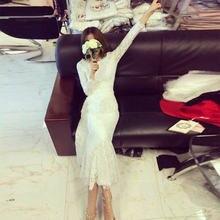 Женское длинное платье русалка свободное эластичное хлопковое
