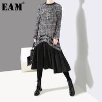 [EAM] 2019 New Spring Winter Round Neck Long Sleeve Black Hem Pu Leather Pleated Plaid Woolen Dress Women Fashion Tide JK829