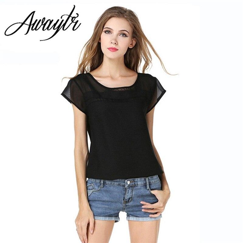 Camisa de la blusa más el tamaño S-5XL  mujeres del verano blusas de manga corta